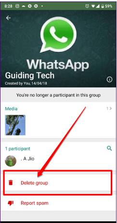 Can Delete a WhatsApp Group