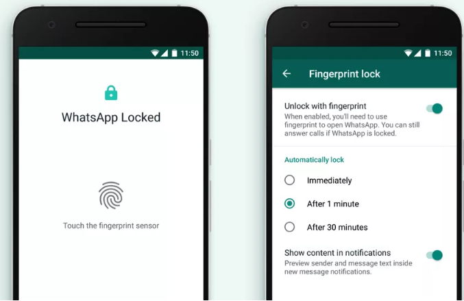 Finger Unlocks System in WhatsApp New Cool Feature