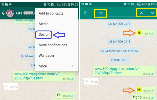 Search all whatsapp Chats without Scrolling