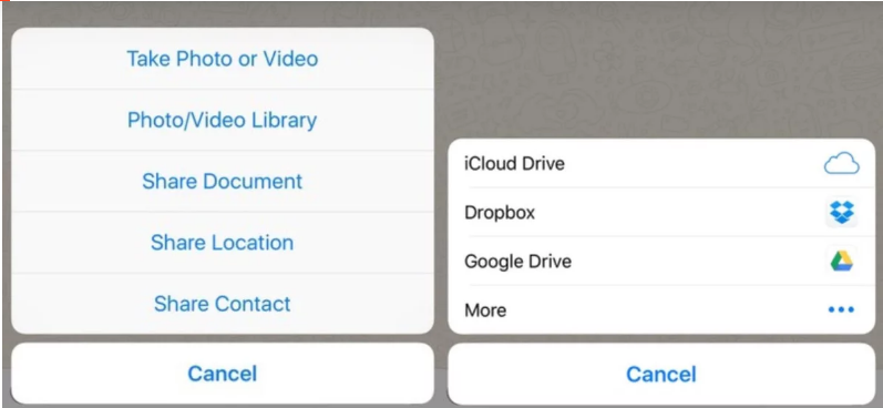 Share documents directly from Google drive and iCloud drive into a whatsapp chat
